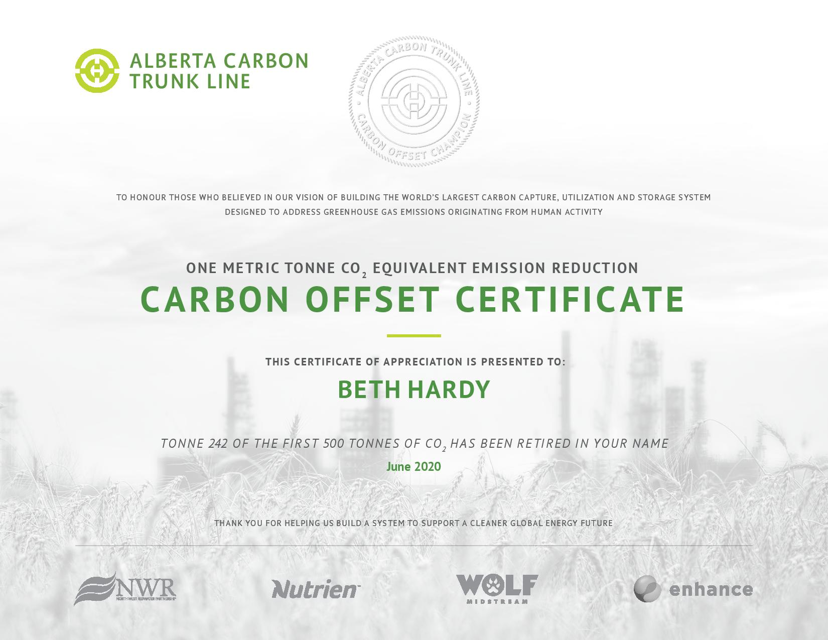 ACTL chose to retire an offset credit generated from the very first 500 tonnes of CO₂ injected from the ACTL system in the name of supporters.
